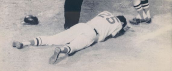 AUG 23 1992; Special to the Denver post, Attn: Jerry Cleveland -- This is and Aug. 19. 1967 file photo of Boston Red Sox outfielder Tony Conigliaro, on the ground after being beaned by California A's Pitcher Jack Hamilton at Fenway Park in Boston. Red Sox Rico Petrocelli is coming to his aid. 1987 (Photo By The Denver Post via Getty Images)