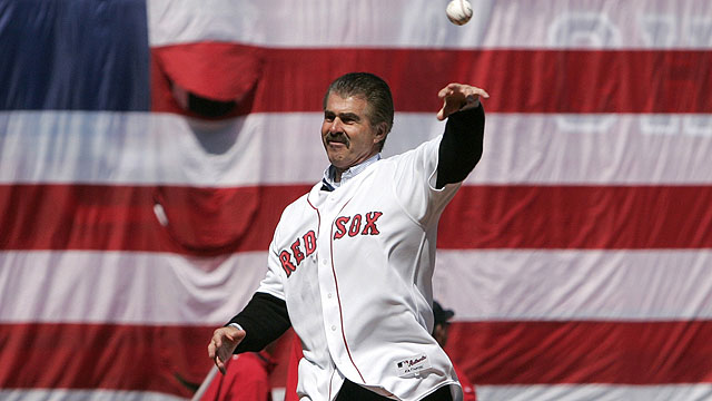 Former Boston Red Sox first baseman Bill Buckner throws out the ceremonial first pitch for the home Opening Day baseball game against the Detroit Tigers in Boston, Tuesday April 8, 2008. (AP Photo/Steven Senne, Pool)